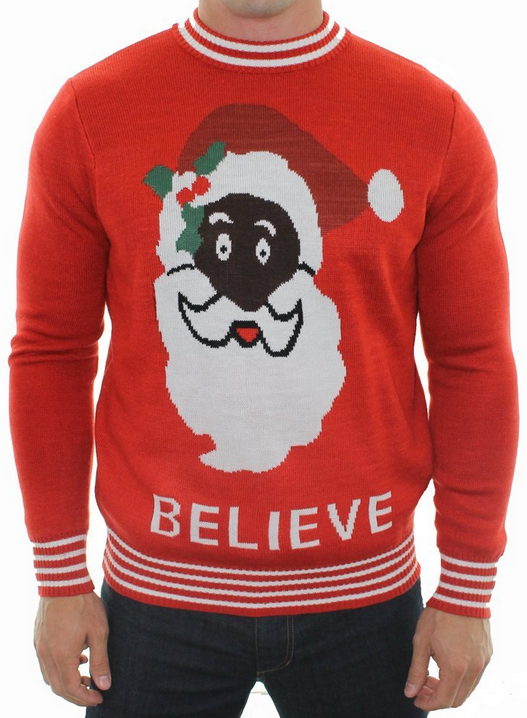 black santa sweater by tipsy elves who ever said father christmas was white this hilarious sweater designed by tipsy elves features the face of a black