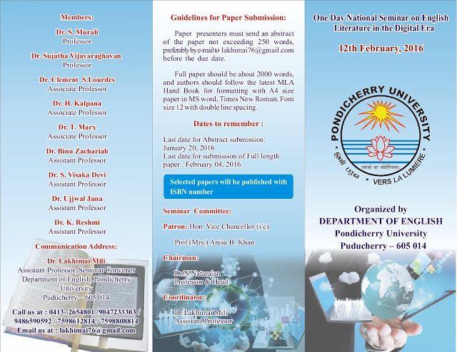 UGC NET SET SLET English Literature One Day National Seminar On
