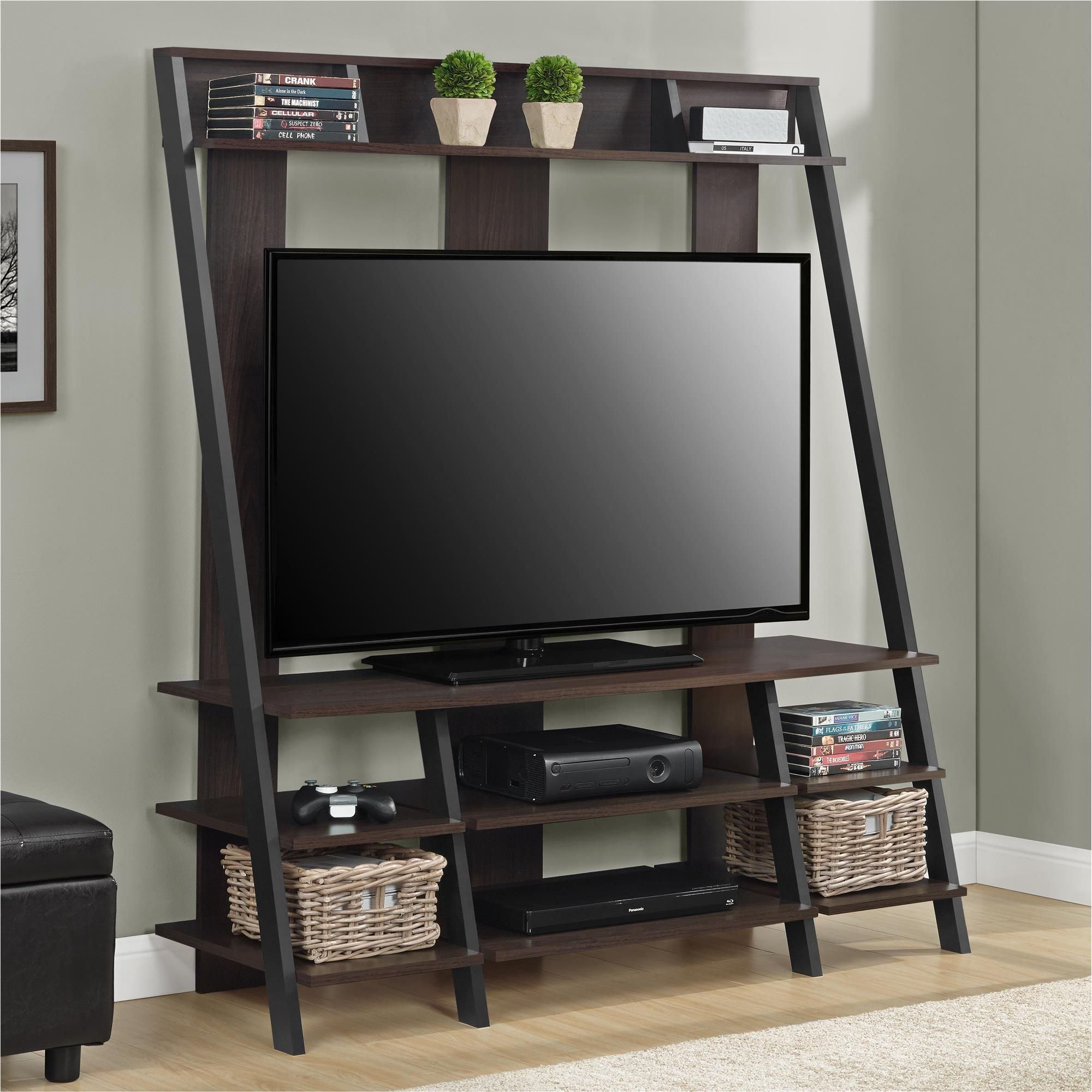 Gorgeous Ladder Style Home Entertainment Center With Multiple Shelves For A V Gear