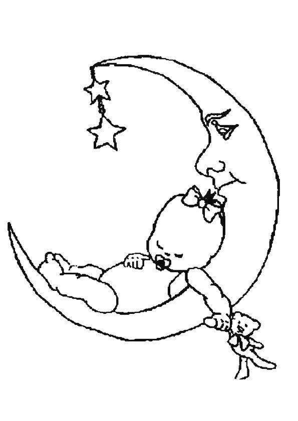 kleurplaat een baby ligt te slapen op de maan