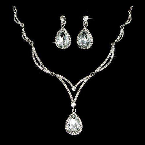 Amazon.com: Bridal Wedding Jewelry Set Crystal Rhinestone Unique Chain Teardrop Necklace SV: Jewelry