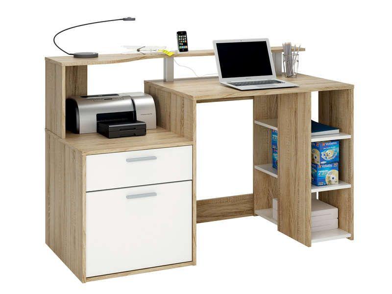 Bureau porte tiroir niches oracle coloris blanc et chêne