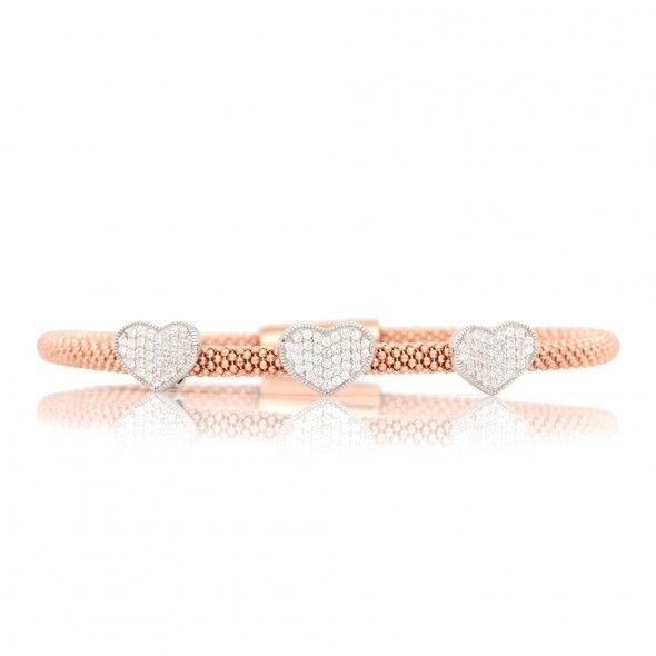 Bracelete Italiano em Prata 925 Rose Coração Tree Times com Zirconia