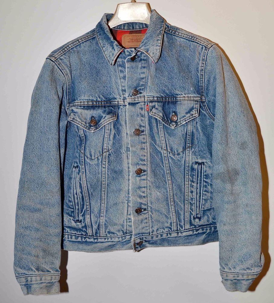 a6ea4389 Vintage Levi's 70411 Trucker Distressed Denim Jacket Flannel Lined Sz 38  Mens #Levis #TruckerJacket