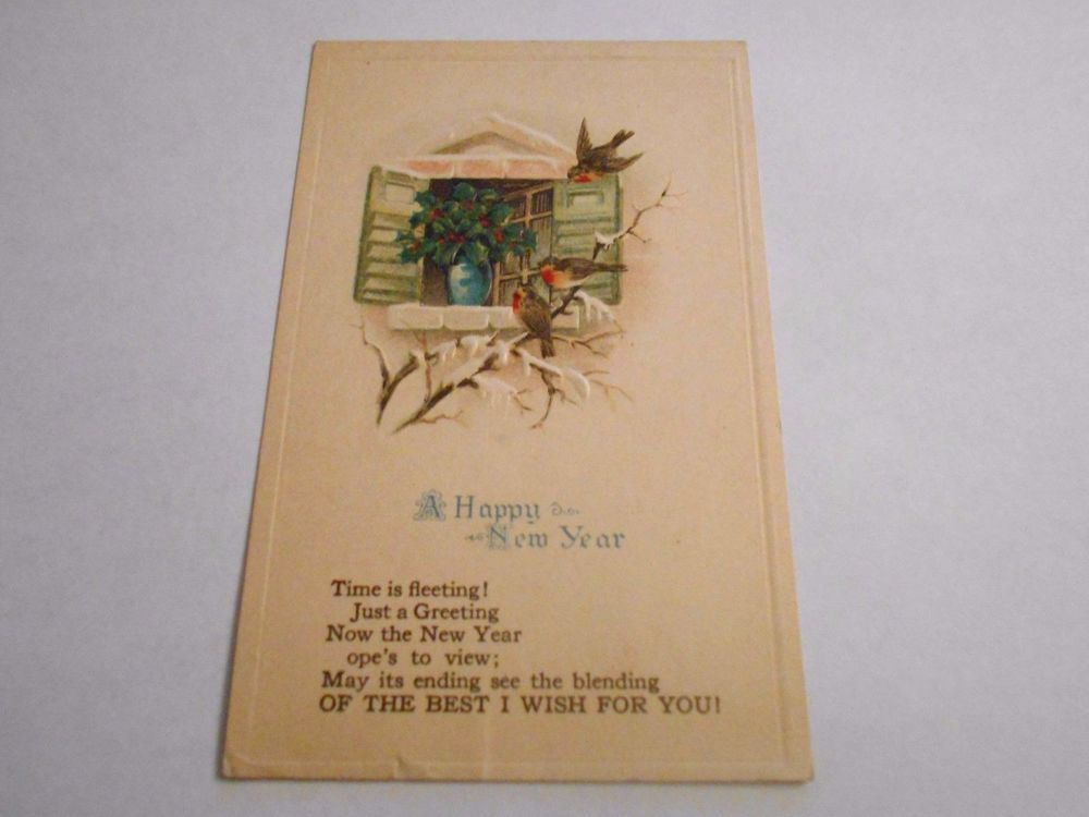 Postcard Embossed Happy New Year Best Wishes Birds Divided