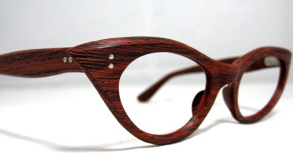 Vintage 60s Cat Eye Eyeglasses. Faux Bois Wood Look Cat Eye Frames ... 856a63c9973e