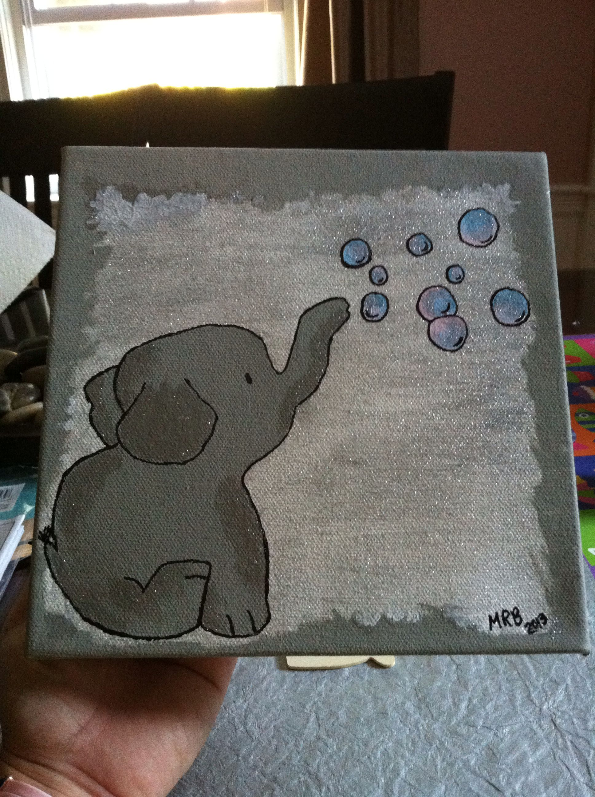Baby Elephant Canvas That I Painted Painting