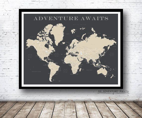 World Push Pin Map Print Only Travel Map Map Poster Travel