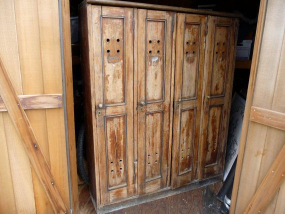 Wooden lockers for home storage these gorgeous antique for Wood lockers with doors