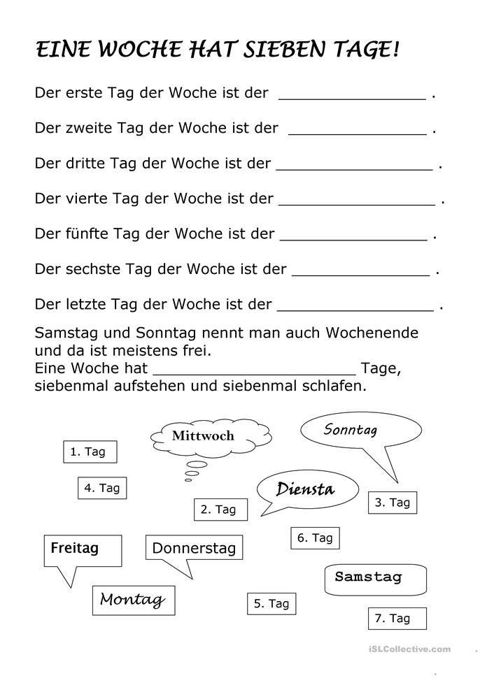 Beste Tage Der Woche Arbeitsblatt Für Kindergärten Fotos - Super ...