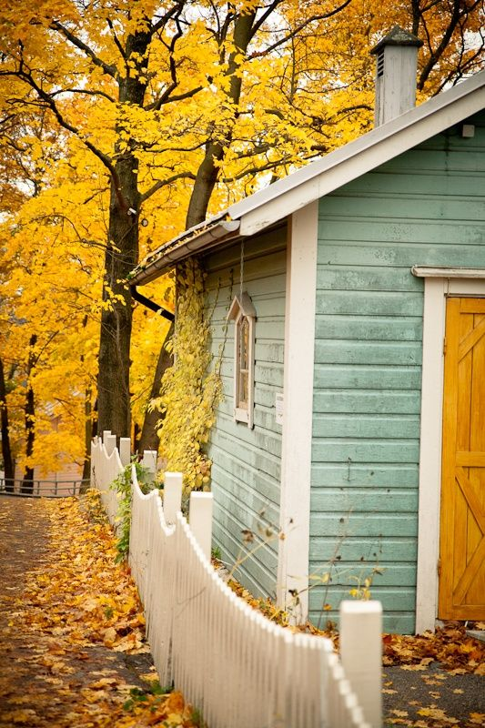 i will paint a garage or workshop blue someplace on the property for certain. Lake home cottage house.