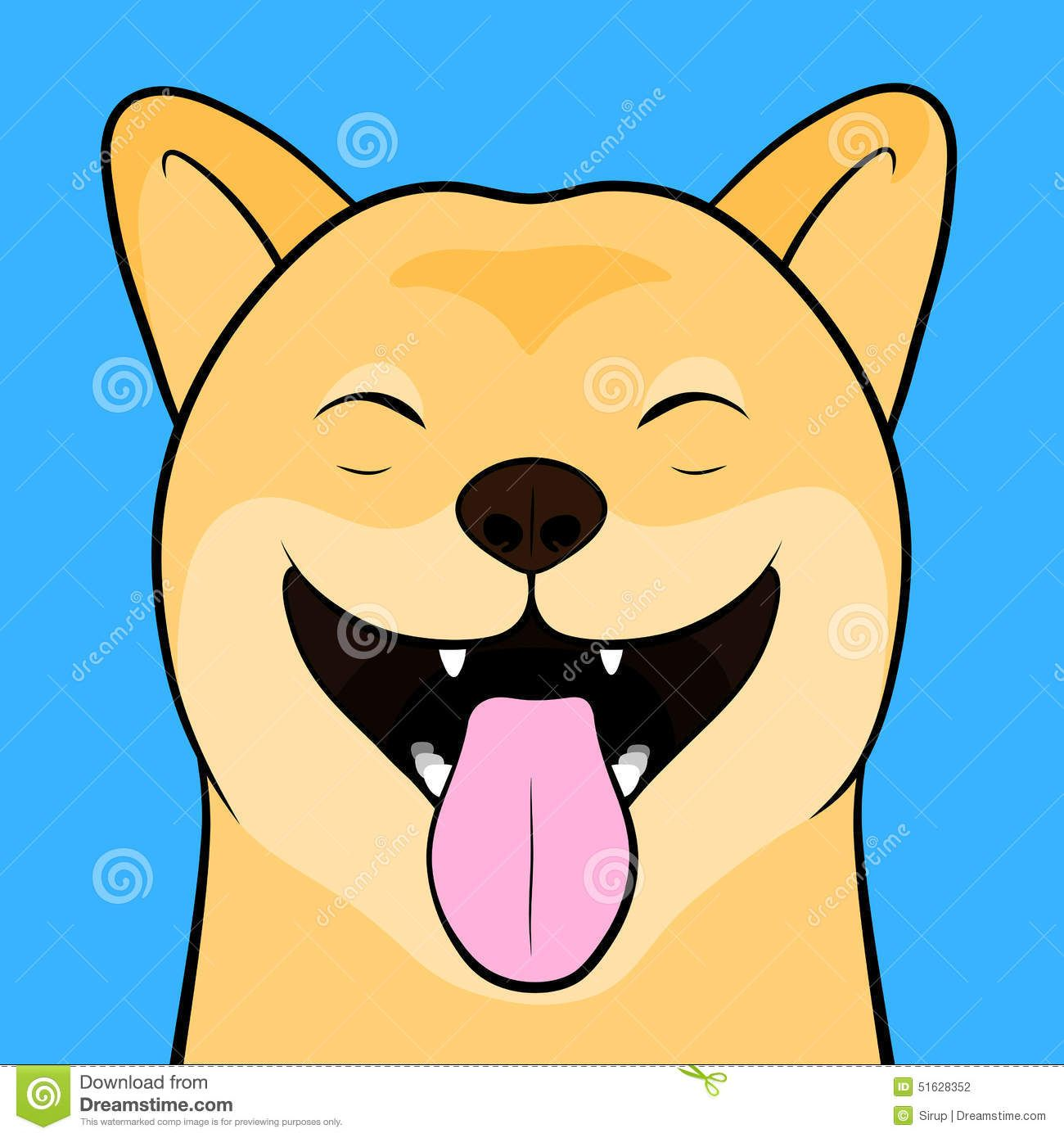 Laughing Cartooned Face Shiba Inu Dog Close Up Funny Tongue Out Light Blue Background 51628352 Jpg 1300 1390 Puppy Cartoon Shiba Inu Dog Laugh Cartoon