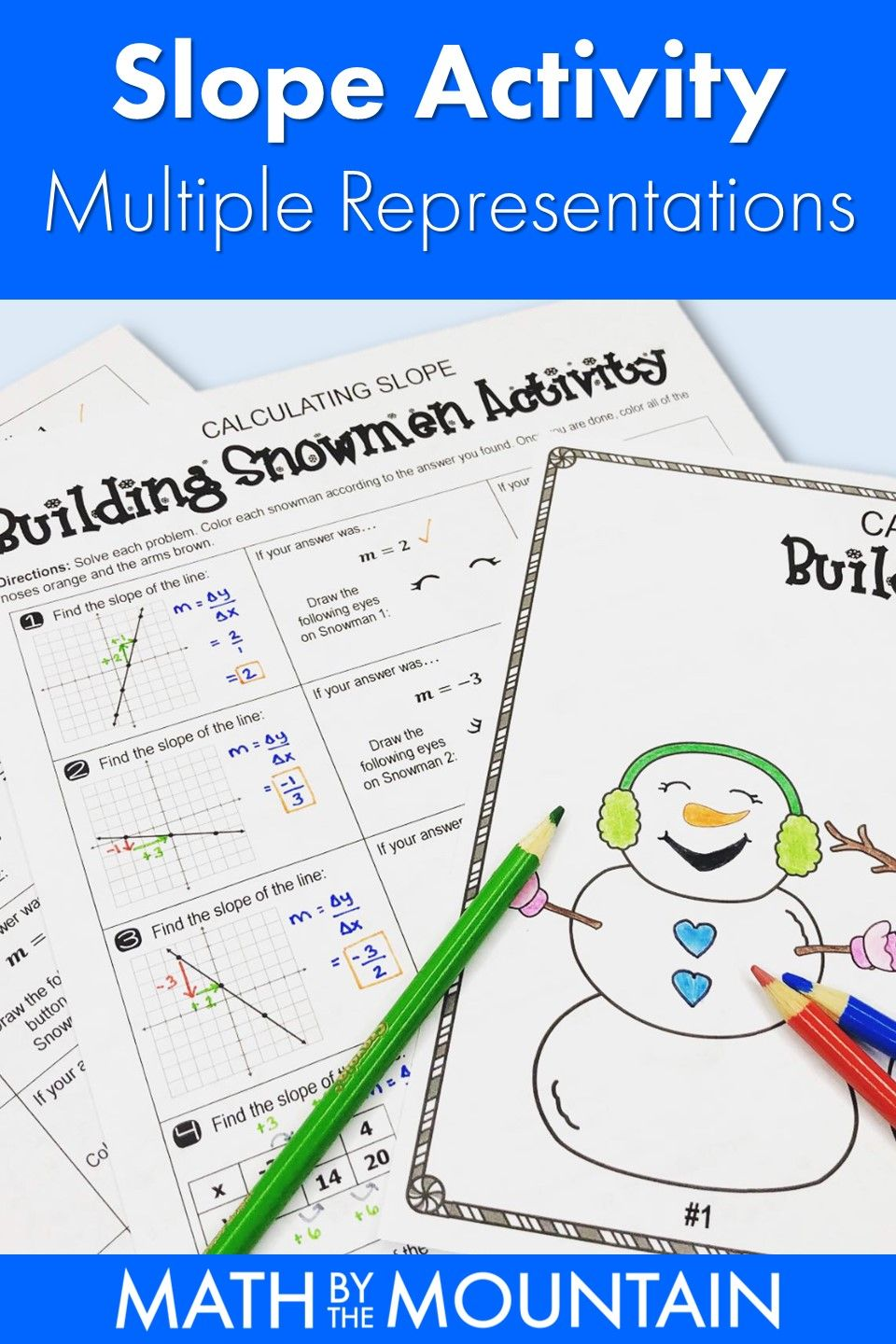 Calculating Slope Building Snowmen Coloring Activity Multiple Representations Color Activities Activities Math Activities
