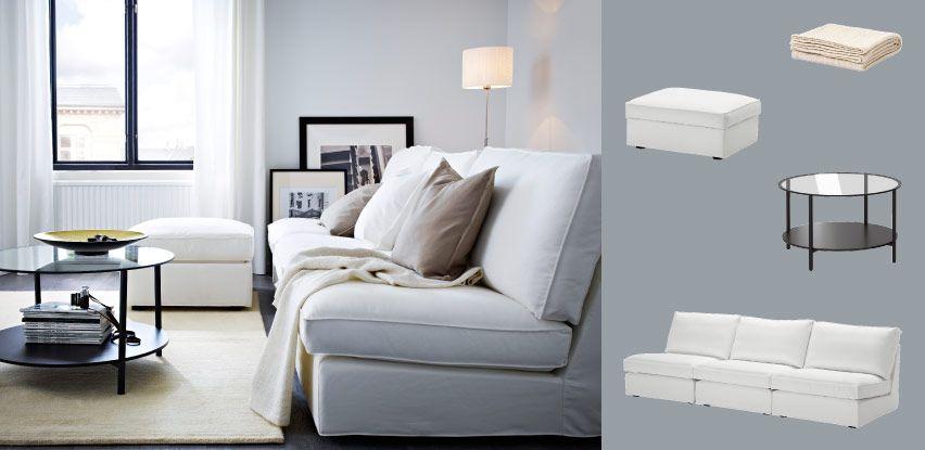 KIVIK three-seat sofa combination and footstool with Blekinge white - wohnzimmer ideen braune couch