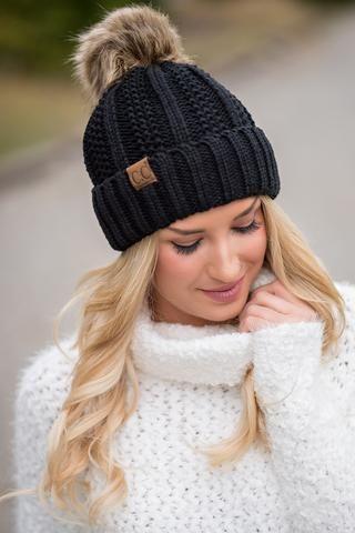 CC Knit Blanket Lined Fur Pom Pom Beanie (Black) - NanaMacs.com - 1 ... 1de3e633e5c