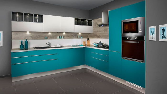 Elegant Turquoise Blue Painted Kitchen To Give It A Premium Gloss Extraordinary Kitchen Design Degree Painting