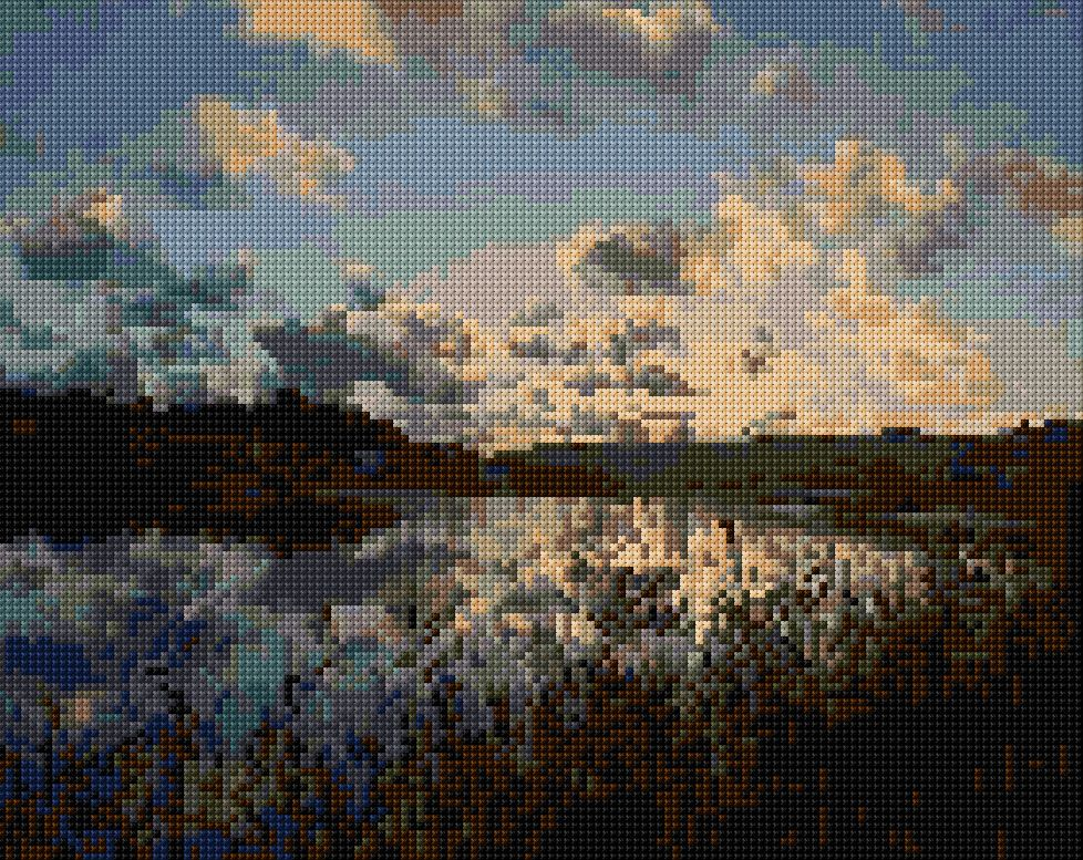 Ganges sunset .... gorgeous cross stitch !!! Free download of pattern for personal use only.