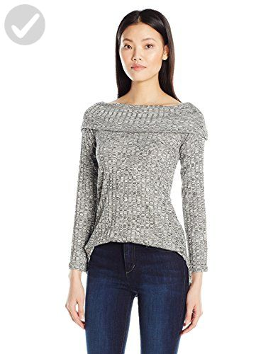 Olive & Oak Women's Marled Rib Foldover Sweater, Dark Heather Grey, X-Small  ❤ Olive & Oak Womens Contemporary
