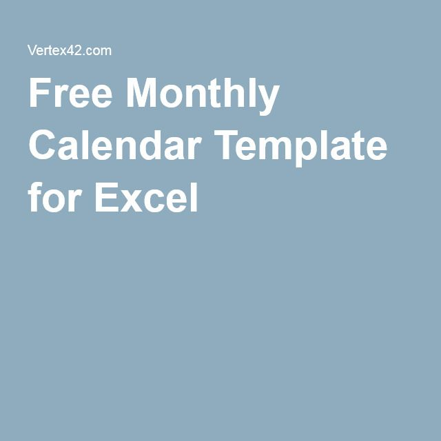 Free Monthly Calendar Template For Excel  Training