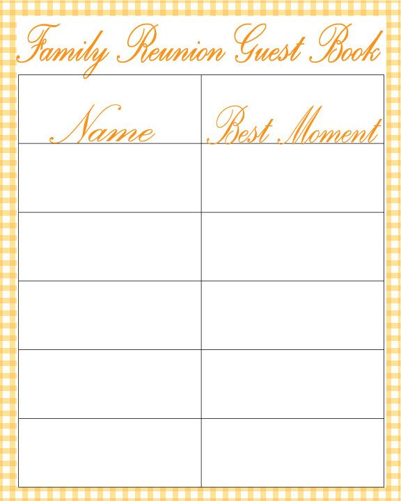 Image Family Reunion Guest Book Gimage Raphic Design Long Beach