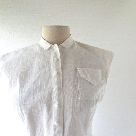 e4711eefa0a39b Vintage 1940s Blouse   White Cotton Blouse   Judy Bond   40s Blouse ...