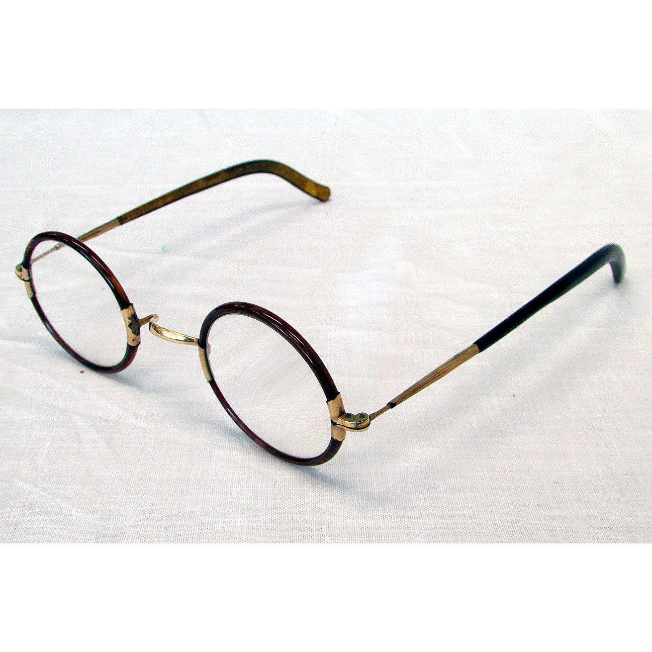 2cf2054a7127 Windsor Style Harold Lloyd Horn Rim Round 1912 Antique Eyeglasses Tortoise  - pinned by pin4etsy.com