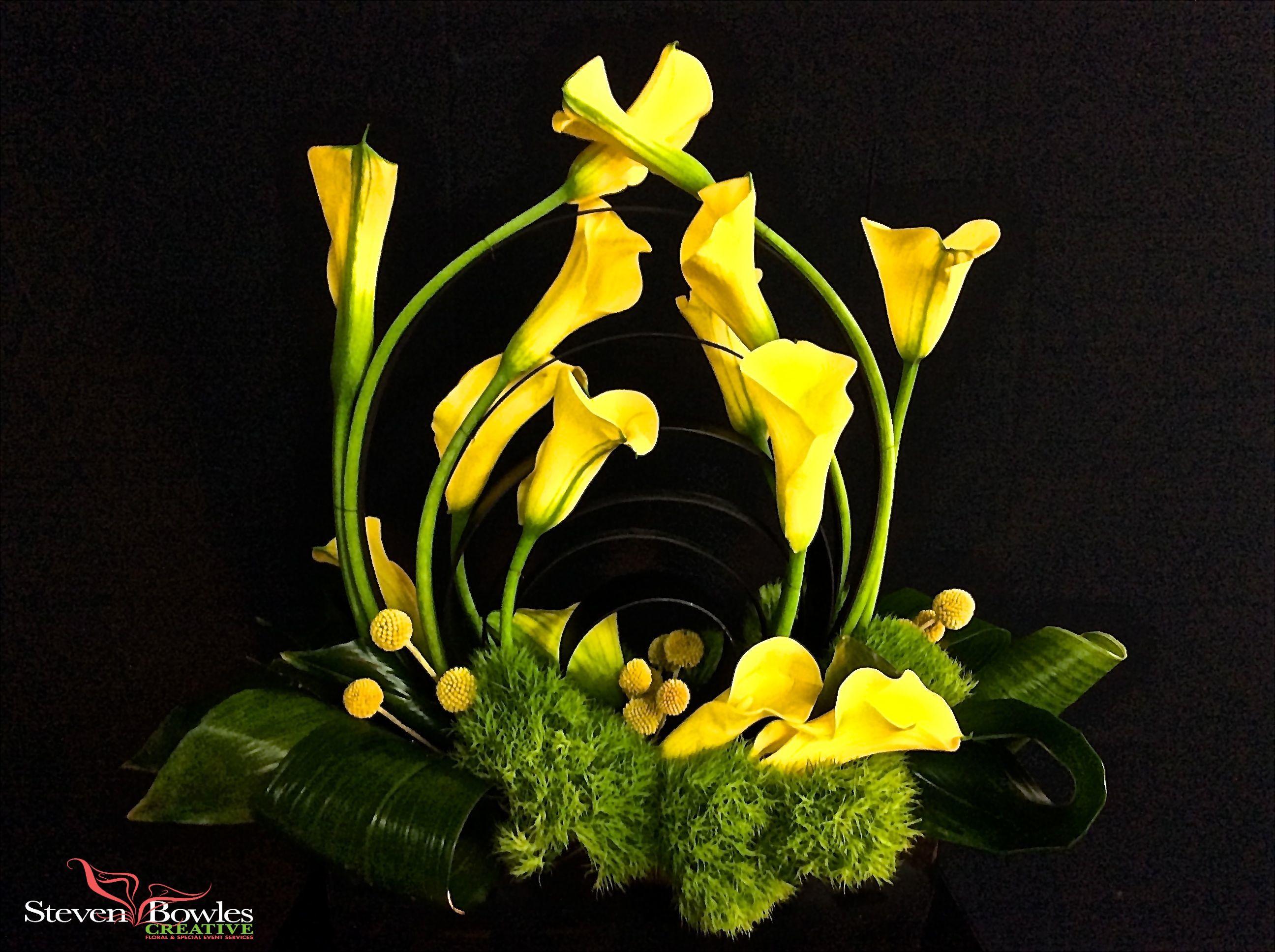 Contemporary Modern Flower Arrangement Yellow Calla Lily Floral Arrangement Designed Flower Arrangements Yellow Flower Arrangements Modern Flower Arrangements