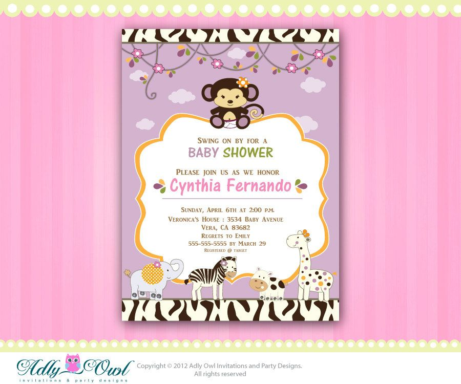 Personalized cocalo jacana jungle girl baby by adlyowlinvitations personalized cocalo jacana jungle girl baby shower printable invitation with monkey zebra giraffe and hippo only digital file you print filmwisefo Images