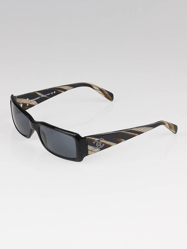 d137e6754e Chanel Black Brown Marbled CC Logo Sunglasses - 5078