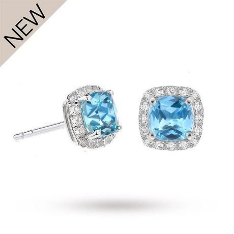 For Her - 9ct White Gold Blue Topaz and White Sapphire Stud Earrings  12152298