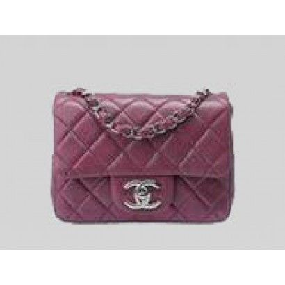 ad1c4313d24b98 New CHANEL MINI COCO 2.55 LAMBSKIN FLAP BAG IN VIOLET(SILVER)-A35200 ...