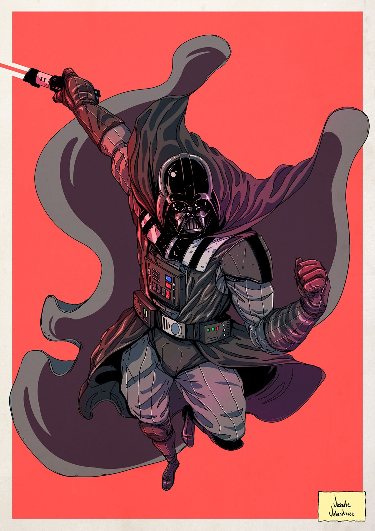 "tiefighters: "" Darth Vader Art by Vicente Valentine 