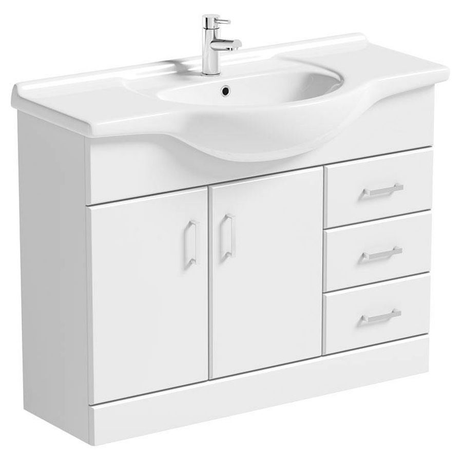 Sienna white vanity unit with basin 1050mm offer pack | Vanity units ...