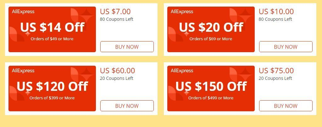 Discount coupons on aliexpress
