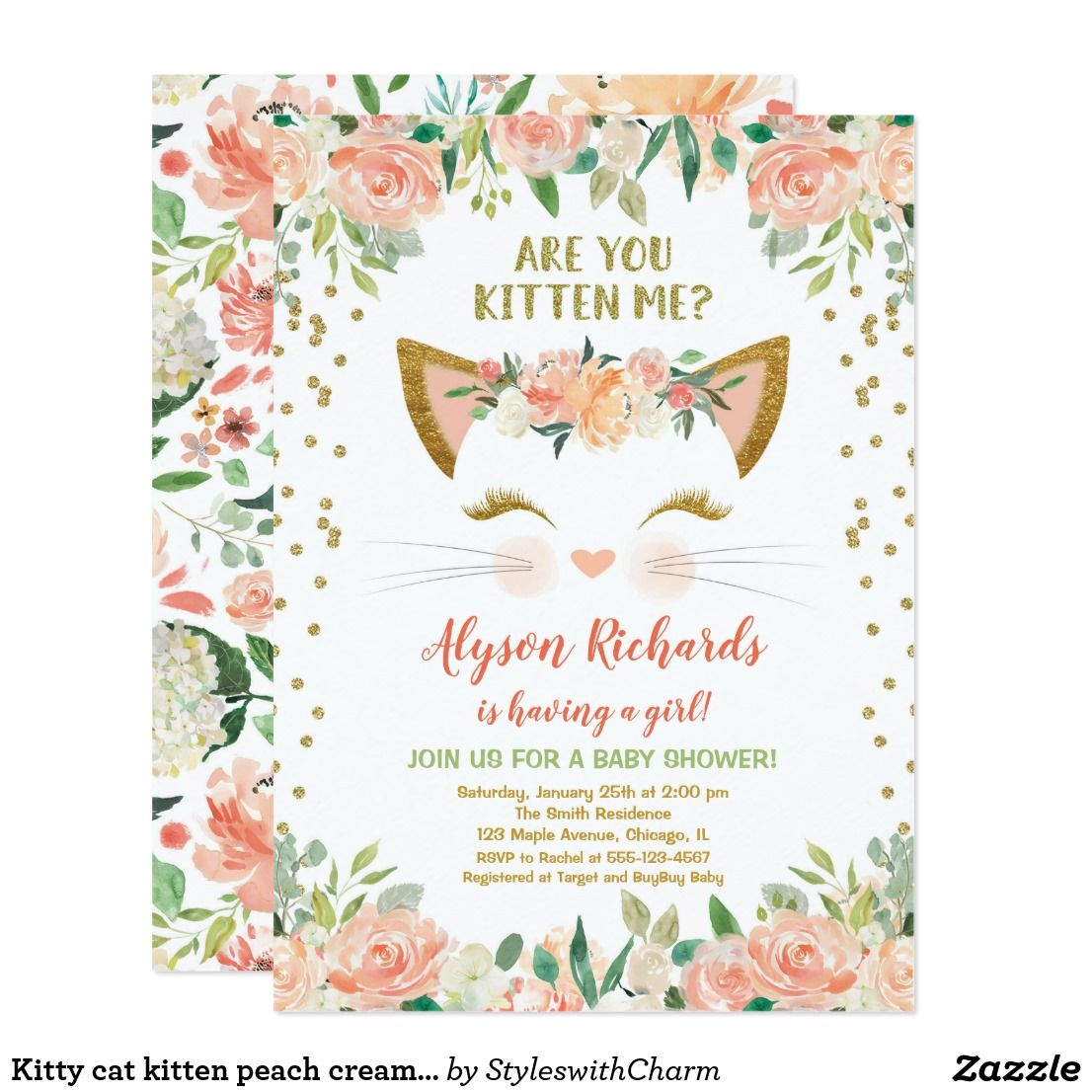 Kitty Cat Kitten Peach Cream Girl Baby Shower Invitation Zazzle Com Girl Birthday Party Invitations Cat Birthday Party Invitations Baby Shower Invites For Girl