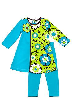 Rare Editions Circle Flower Dress Set Toddler Girls