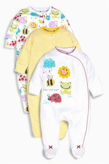 ea9726904 Yellow Sunshine Print Sleepsuits Three Pack (0mths-2yrs)