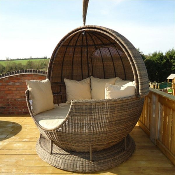Rotating Rattan Apple Outdoor Daybed Cappuccino Outdoor Beds Outdoor Lounge Set Outdoor Daybed