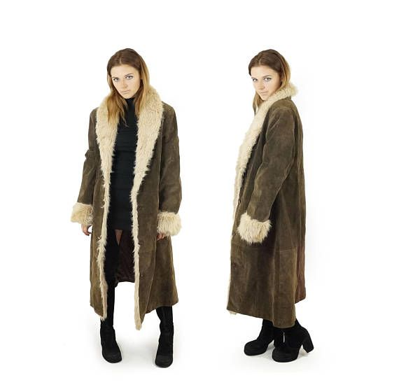 Almost Famous Faux Fur Trimmed Suede Coat: Suede Dark Brown 90s Leather And Shag Faux Fur Coat Penny