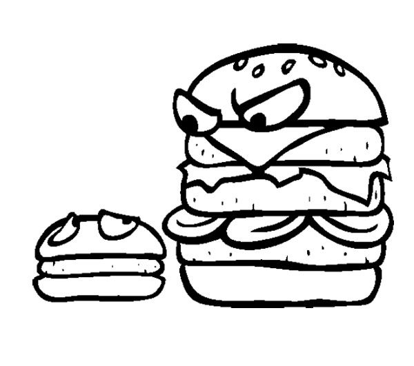 Junk Food Big Burger And Small Burger Coloring Page For Kids With