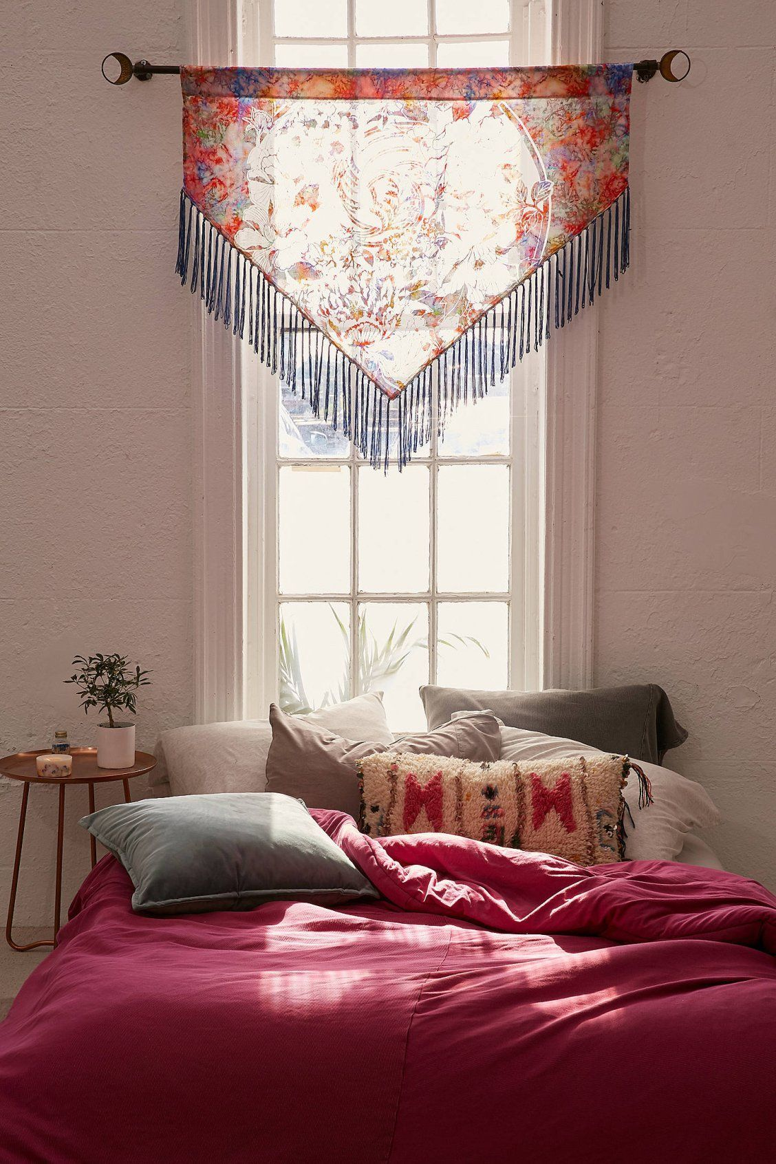 Bed under window ideas  sia burnout velvet window valance  urban outfitters  easy home