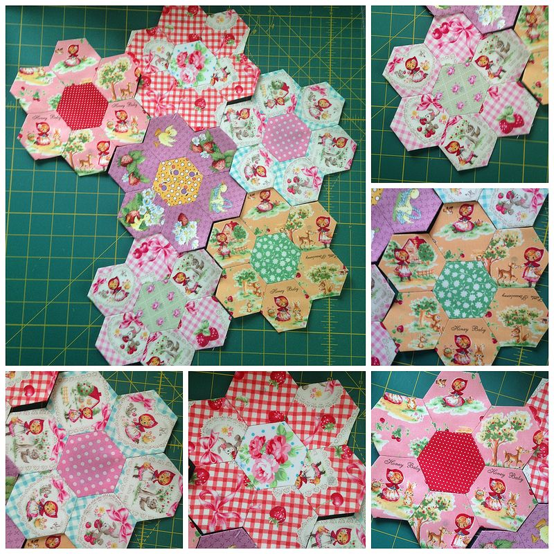 Hexagon Quilt, Flower Quilts, Hexagon Pattern