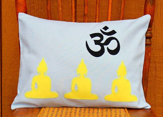 Lemon yellow buddhas on gray linen applique pillow by earthgroovz $
