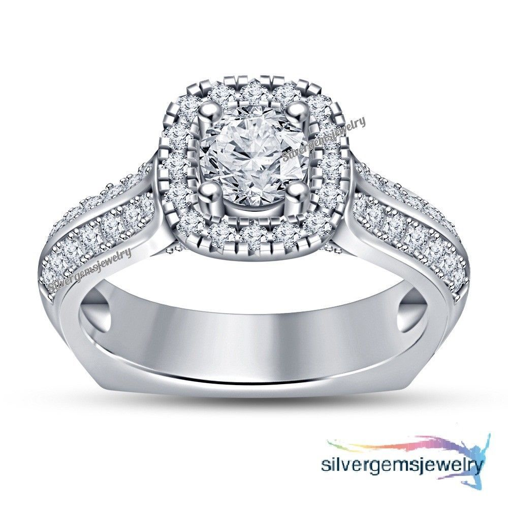 14k White Gold Round Cut Diamond Wedding Engagement Ring For
