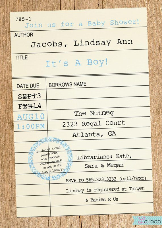 Printable library card baby shower invitation these would look printable library card baby shower invitation these would look great printed on our eco filmwisefo Gallery