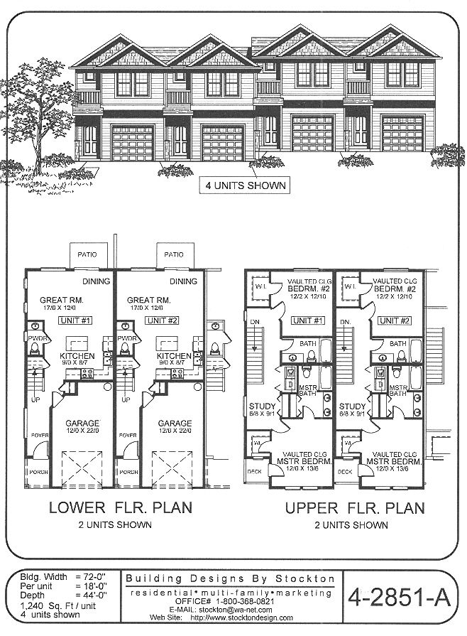 Building designs by stockton plan 4 2851 a plans for 4 unit condo plans
