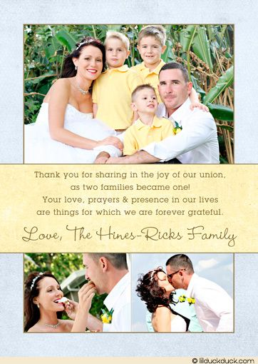 Blended Family Wedding Thank You