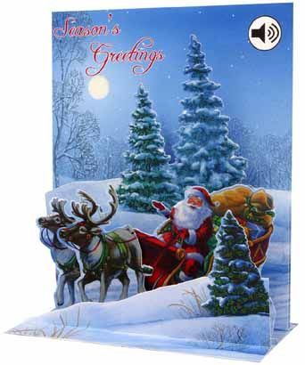 Sight n sound through the woods audio sound christmas pop up card what can i say about this wonderful christmas pop up card its got lots of glitter also it has sound so you press the button and it plays a christmas music m4hsunfo