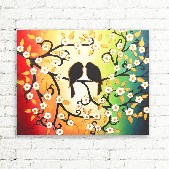 Mothers Day Gift Original Love Bird Painting on Canvas Blossom Tree ...
