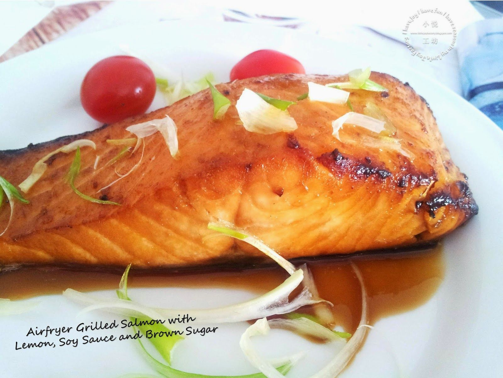 Grilled salmon with lemon soy sauce and brown sugar for Airfryer recipes fish
